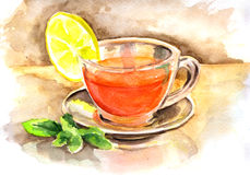 Cup of mint tea with lemon watercolor Royalty Free Stock Images