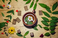 A cup of mint tea and some runes and dice. A cup of hot green mint tea and scandinavian runes stock photo