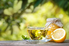 Cup of mint tea on table Royalty Free Stock Photos