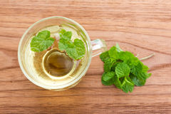 A cup of mint tea. On wood table. Stock Image