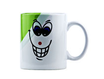Cup mit der Zeichnung, getrennt Lizenzfreie Stockfotos
