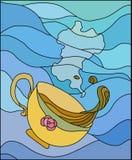 Cup mit heißem Getränk Stockbild