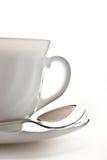 Cup mit Saucer und Löffel Stockfoto