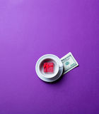 Cup, money and gift Royalty Free Stock Image