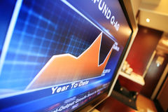 Cup with monitor show chart. Cup with monitor which show financial chart Stock Photo