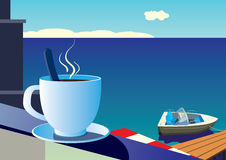 A cup of morning coffee on the background of the sea  Royalty Free Stock Photos
