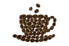 A cup of morning coffee from coffee beans royalty free stock images