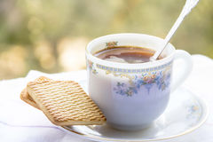 A cup of morning coffee. With cookies Stock Image