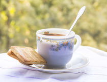 A cup of morning coffee. With cookies Stock Photos