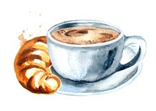 Cup of morning coffee and croissant. Watercolor hand drawn illustration, isolated on white background. Cup of morning coffee and croissant. Watercolor hand royalty free illustration
