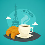 Cup Of Morning Coffee With Croissants Royalty Free Stock Photos