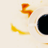 Cup of morning coffee with stains Royalty Free Stock Photos