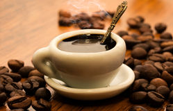 A cup with morning fragrant black coffee Royalty Free Stock Photography