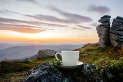 Cup in the mountains stock photo