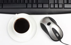 Cup and mouse whit keyboard Royalty Free Stock Photo