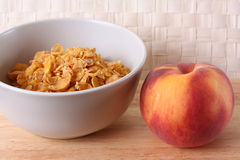 Cup with muesli and peach Stock Photo