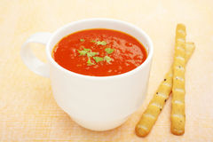 Cup Mug Low Fat Tomato Soup Bread Sticks Stock Photo