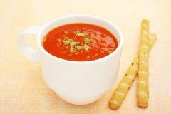Cup Mug Low Fat Tomato Soup Bread Sticks Stock Photo