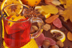 Cup of mulled wine closeup and various spices Stock Photos