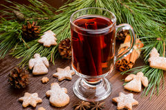 Cup of mulled wine and cookies Royalty Free Stock Photo