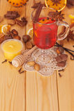 Cup of mulled wine with spices and honey Royalty Free Stock Image
