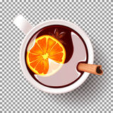 Cup of mulled wine  on transparent backdrop Royalty Free Stock Photography