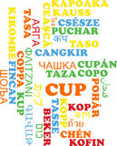 Cup multilanguage wordcloud background concept Royalty Free Stock Image