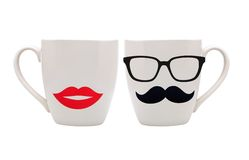 Cup with mustache and lips isolated on white Royalty Free Stock Photos