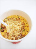 Cup noodles. Japanese style cup noodles closeup Stock Photo