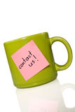 Cup with note contact us!. Stock Images