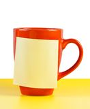Cup with note paper. Bright cup and note paper with space for text stock images