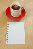 Cup and note paper Royalty Free Stock Images