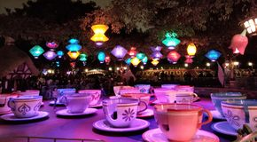 Cup O& x27; Tea. The spinning tea cup ride at Disneyland, found near the Matterhorn stock images