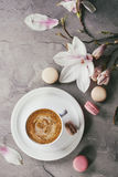 Cup Of Black Coffee With Magnolia Royalty Free Stock Photos