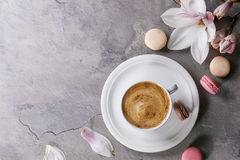 Cup Of Black Coffee With Magnolia Royalty Free Stock Photography