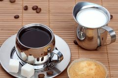 Cup Of Black Coffee With Muffin And Milk Royalty Free Stock Photos