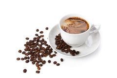 Free Cup Of Black Coffee With Roasted Coffe Beans 2 Stock Image - 36830511