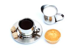 Cup Of Black Coffee With Sugar Stock Photos