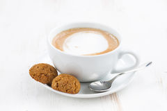 Free Cup Of Cappuccino And Flavored Cookies, Selective Focus Stock Image - 81594681