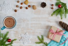 Free Cup Of Chocolate With Marshmallows, Christmas Decorations On Wooden Table Stock Image - 103092551