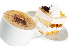 Cup Of Coffee And A Cake Royalty Free Stock Image
