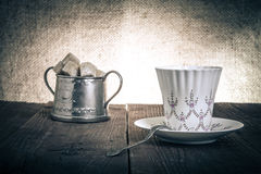 Free Cup Of Coffee And Brown Sugar In A Vintage Metal Sugar-bowl  Royalty Free Stock Photos - 50308318