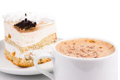 Cup Of Coffee And Cake Stock Images
