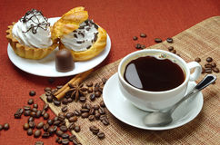 Cup Of Coffee And Cakes Stock Image