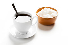 Free Cup Of Coffee And Plate With Sugar Stock Images - 16374074