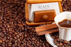 Free Cup Of Coffee And Roasted Beans Royalty Free Stock Image - 35949686