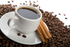 Cup Of Coffee And Roasted Beans Isolated Stock Photography