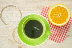 Free Cup Of Coffee And Sliced Orange (coffee Break) Royalty Free Stock Photos - 41168938