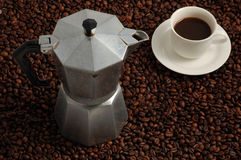 Cup Of Coffee AndCoffee Machine Stock Images