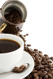 Cup Of Coffee, Beans And Pot Isolated On White Stock Images